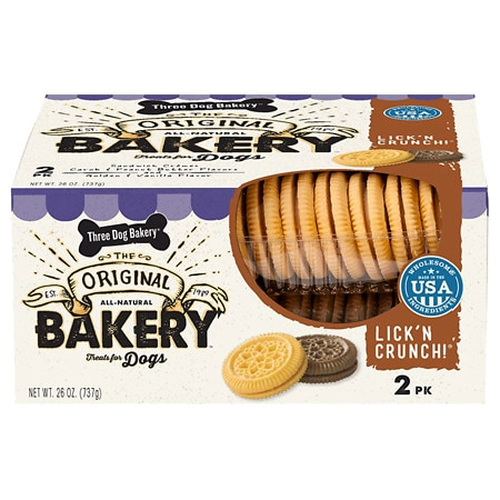 Three Dog Bakery Lick 'n Crunch 2-Pack Carob & Peanut Butter/ Golden & Vanilla