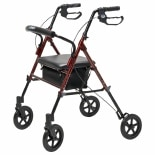 Lumex Set & Go Wide Height Adjustable Rollator Burgundy
