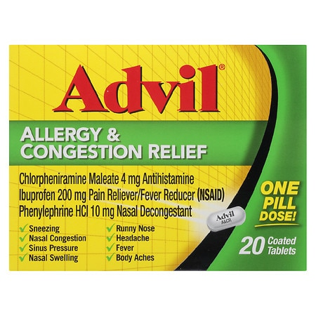 Advil Allergy Congestion Relief Coated Tablets Walgreens