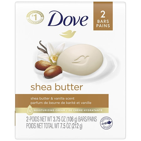 Dove Purely Pampering Bar Soap, Nourishing Care Shea Butter, 2 Bars