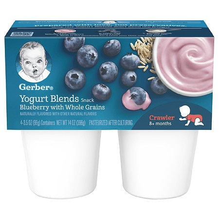 Gerber Yogurt Blends Snack Blueberry with Whole Grains - 3.5 oz. x 4 pack