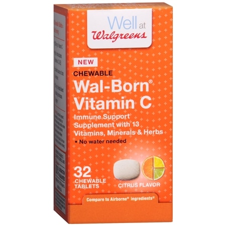 Walgreens Wal-Born Vitamin C Immune Support Supplement Chewable Tablets Citrus