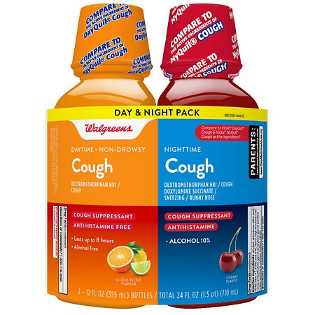 Walgreens Daytime & Nighttime Cough Relief Liquid Citrus - 24 fl oz x 2 pack