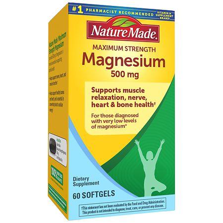 Nature Made Maximum Strength Magnesium 500mg, Softgels - 60 ea
