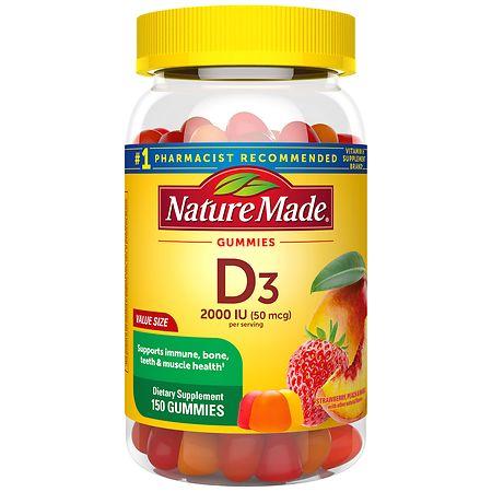 Nature Made Vitamin D3 Adult Gummies Strawberry, Peach, and Mango - 150 ea