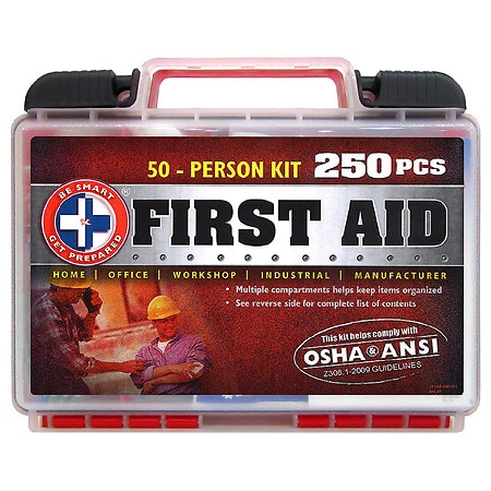 Be Smart Get Prepared First Aid 50-Person OSHA ANSI Kit 250 Pieces - 1 kit