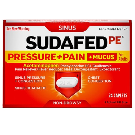 Sudafed PE Pressure + Pain + Mucus Non-Drowsy Caplets For Adults - 24 ea