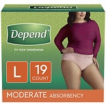 Depend Incontinence Underwear for Women, Moderate Absorbency Large Peach