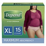Depend Incontinence Underwear for Women, Maximum Absorbency XL Tan