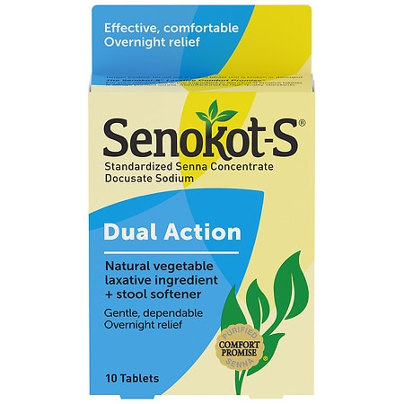 Senokot-S Natural Vegetable Laxative + Stool Softener Tablets - 10 ea
