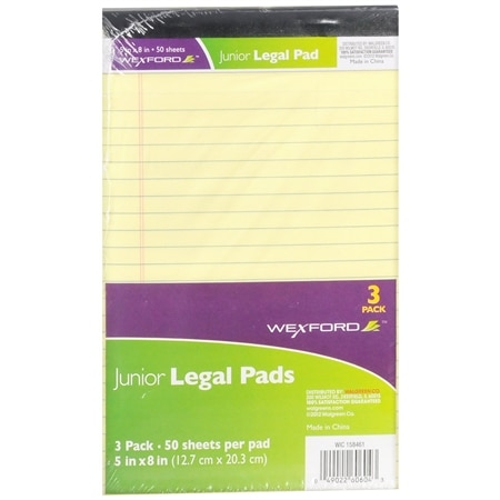 Wexford Junior Legal Pads - 3 ea x 3 pack