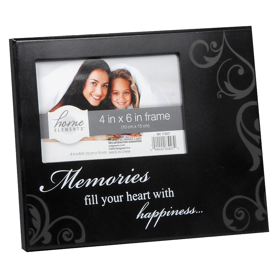 Home Elements Picture Frame 4 inch x 6 inch Black | Walgreens