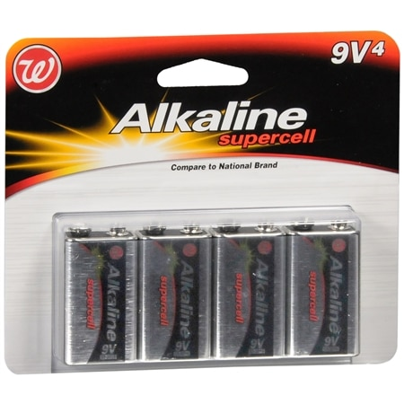 Walgreens Alkaline Supercell Batteries 9 V - 4 ea
