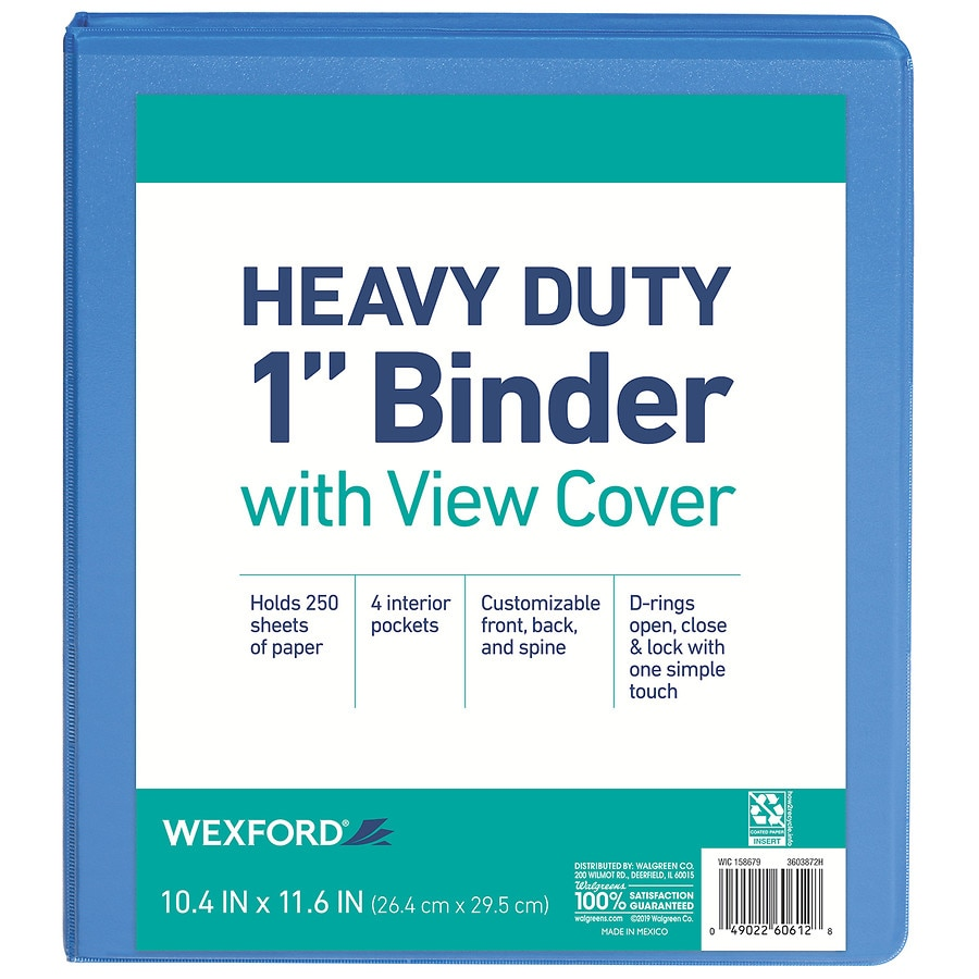 wexford view binder 1 inch assorted walgreens