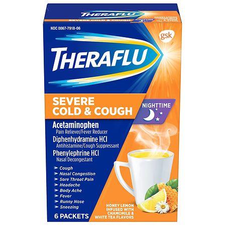 Theraflu Nighttime Severe Cold Cough Packets Honey Lemon Chamomile White Tea