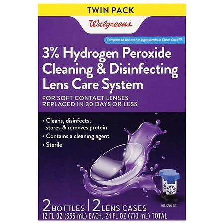 Walgreens Sterile Hydrogen Peroxide Cleaning & Disinfecting Lens Care System - 24.0 oz x 2 pack