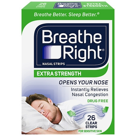 Breathe Right Nasal Strips, Extra Clear for Sensitive Skin - 26 ea