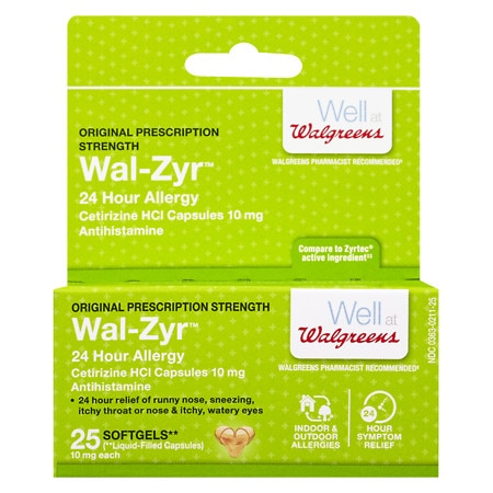 Walgreens Wal-Zyr 24 Hour Allergy 10mg Softgels
