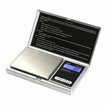 American Weigh SS Pocket Scale Back-Lit LCD Screen, Flip-Up Protective Cover AWS-100 Silver