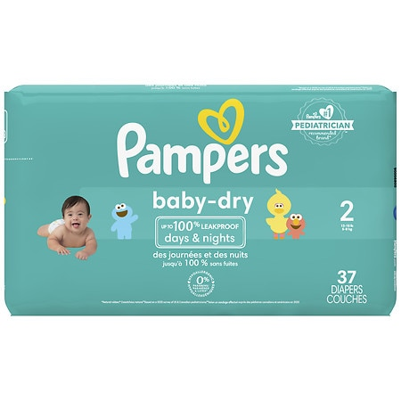 Pampers Baby-Dry diapers are available in sizes N, 1, 2, 3, 4, 5, and 6. Based on size 4 vs. the leading value brand. Average of grams less after 3 typical wettings over 15 min. vs. product replacedReviews: