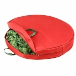 Honey Can Do 30in Zipper Canvas Wreath Storage Red And Pine Green
