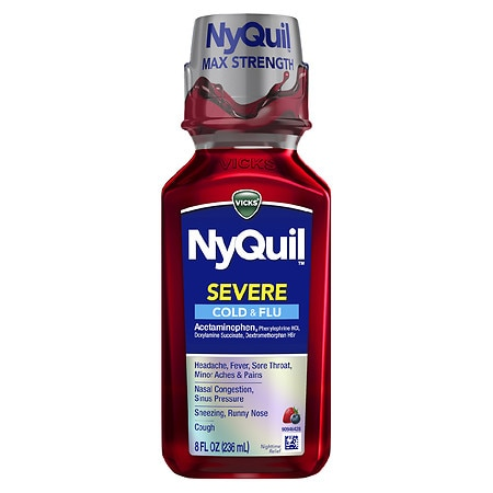 Vicks Nyquil Severe Cold & Flu Nighttime Relief Liquid Berry - 8 fl oz
