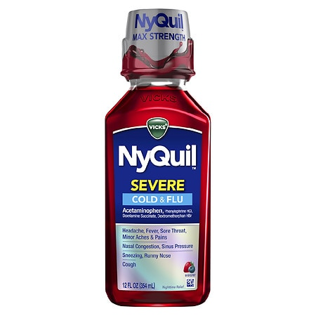 Vicks Nyquil Severe Cold & Flu Nighttime Relief Liquid Berry - 12 fl oz