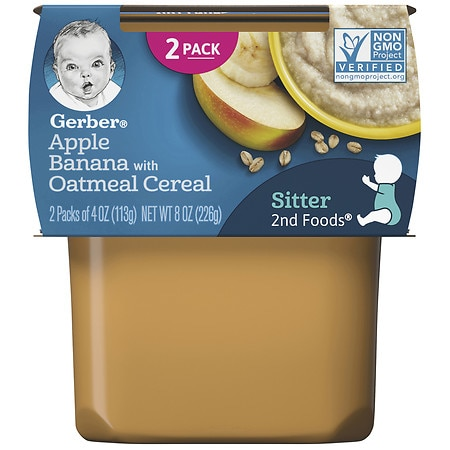 Gerber Nature Select 2nd Foods Baby Food Apple Banana Oatmeal Cereal