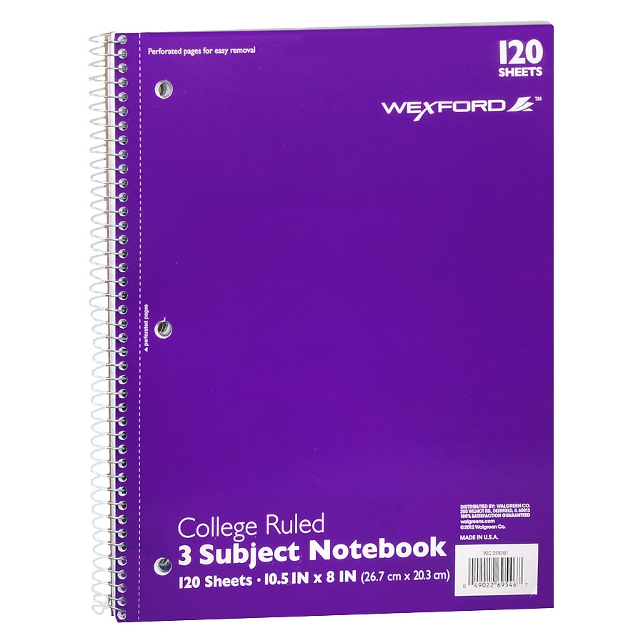 Wexford Notebook College Ruled 3 Subject Assorted | Walgreens