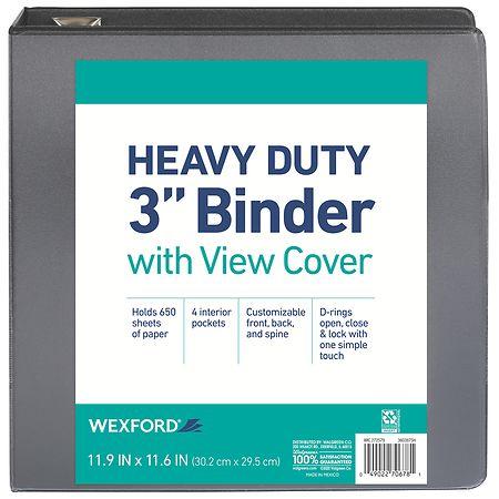 Wexford Heavy Duty View Binder 3 Inch Assorted Walgreens