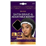 Donna Satin Adjust Braid Bonnet Black