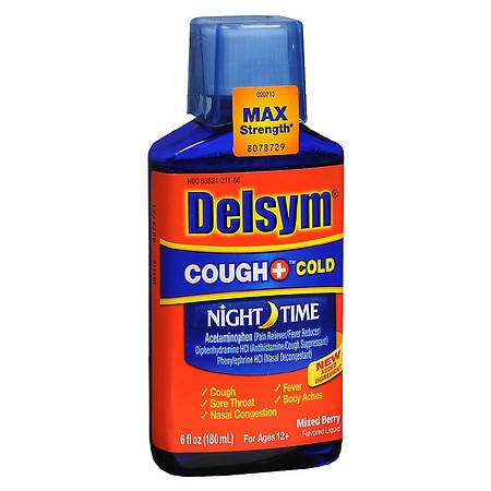 Delsym Adult Liquid Cough + Cold Nighttime, Mixed Berry - 6 fl oz