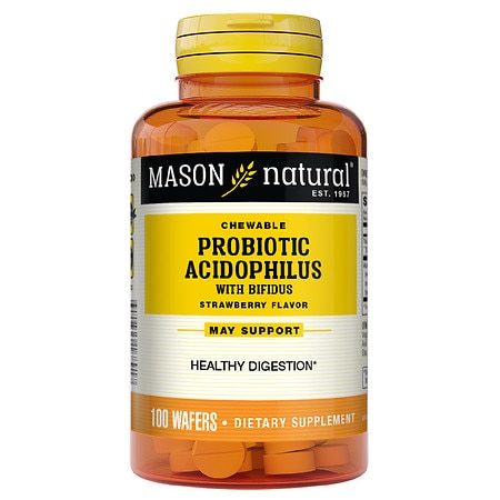Mason Natural Chewable Acidophilus with Bifidus Wafers Strawberry - 100 ea