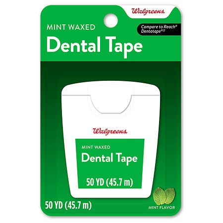 Walgreens Dental Tape, Waxed Mint - 50 yd