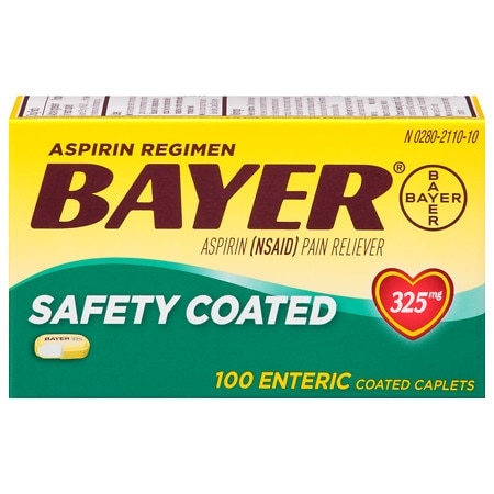Bayer Aspirin Regimen, Safety Coated Enteric Caplets - 100 ea