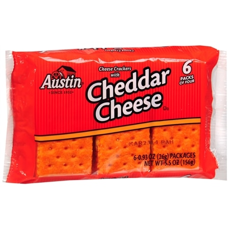 Austin Crackers Snack Pack Cheddar Cheese - 0.93 oz. x 6 pack