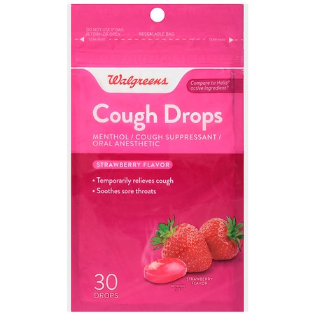 Walgreens Cough Drops Strawberry - 30 ea