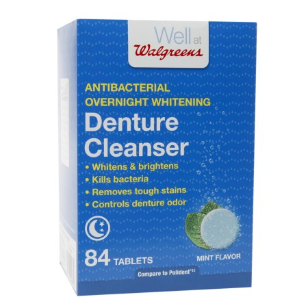 Walgreens Antibacterial Overnight Whitening Denture Cleanser Tablets Mint - 84 ea