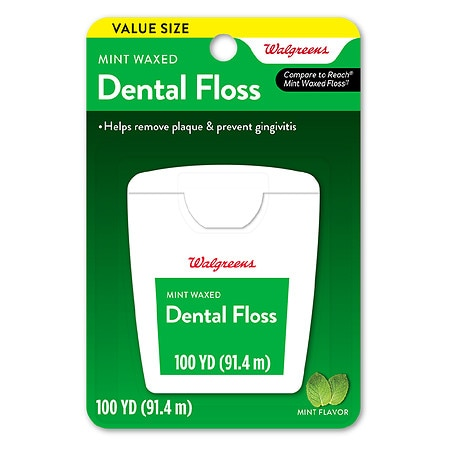 Walgreens Waxed Dental Floss Mint - 100 yd