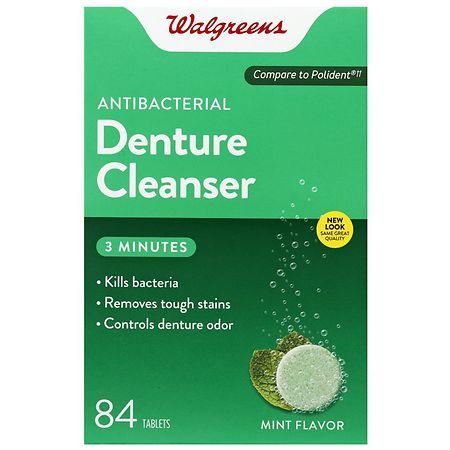 Walgreens Antibacterial 3-Minute Denture Cleanser Tablets Mint - 84 ea