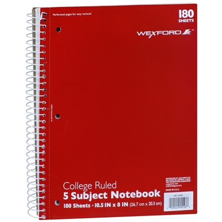 Wexford 5 Subject Spiral Notebook College Ruled - 180 sh