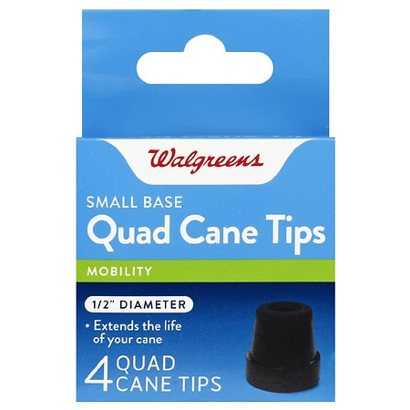 Walgreens Small Base Quad Cane Tips 1/2 Inch Diameter - 4 ea