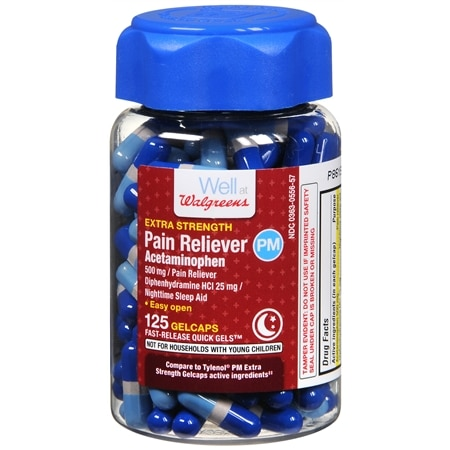 Walgreens Extra Strength Pain Reliever PM Gelcaps - 20 ea