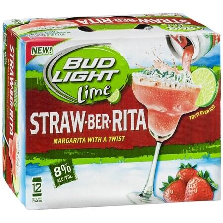 Budweiser Light Beer Straw-Ber-Rita - 8 oz. x 12 pack