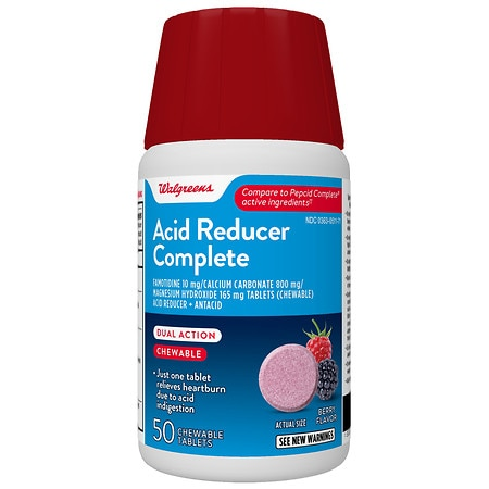 Walgreens Acid Controller Complete Chewable Tablets Berry - 50 ea
