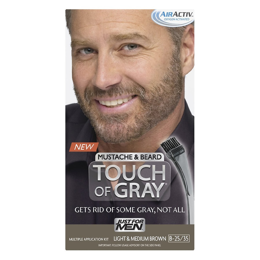 Just For Men Touch of Gray Mustache & Beard Haircolor,B-25/35 Light ...