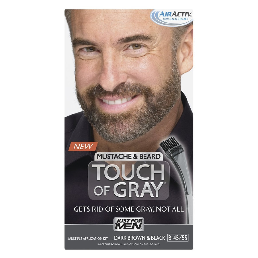 Just For Men Touch of Gray Mustache & Beard Haircolor,Dark Brown ...