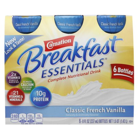 Carnation Breakfast Essentials Complete Nutritional Drink French Vanilla - 8 oz. x 6 pack