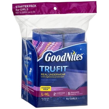 GoodNites TRU-FIT Bedwetting Underwear for Girls, Starter Kit (2 Pants + 5 Inserts) L/XL - 7 ea
