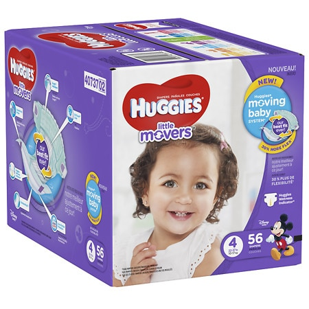 Huggies Little Movers Diapers, Size 4 - 56 ea
